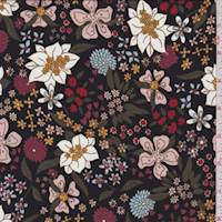 Black Multi Floral Crepe De Chine