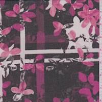 Black/Berry Floral Plaid Georgette