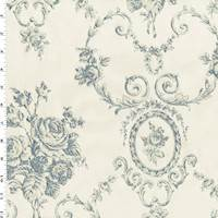 Blue/Ivory Victorian Floral Jacquard Decor Fabric