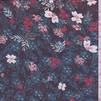 Black/Teal Floral Vine Polyester Chiffon
