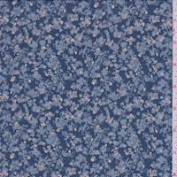 Marine Blue Mini Floral Polyester Chiffon