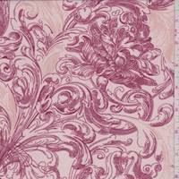Rose Pink Stylized Scroll Polyester Chiffon