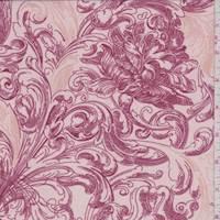 Rose Pink Stylized Scroll Polyester Chiffon