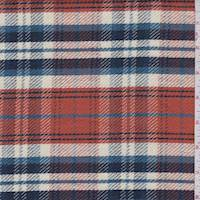 Clay/Ivory/Navy Plaid Twill Jacketing