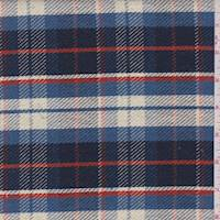 Navy/Sky/Ivory Plaid Twill Jacketing