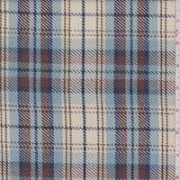 Powder Blue/Cream Plaid Twill Jacketing