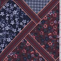 Maroon Floral Tile Rayon Challis