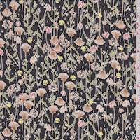 Black/Blush Fan Flower Georgette