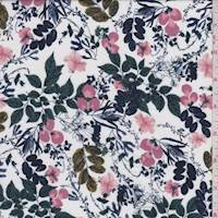 *2 5/8 YD PC--Whisper White Multi Floral Rayon Challis