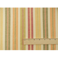 *9 YD PC--Ivory/Multi Linen Stripe Home Decorating Fabric