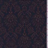 *2 1/8 YD PC--Navy/Maroon Jacquard Double Knit