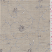 *7/8 YD PC--Taupe Embroidered Silk Dupioni