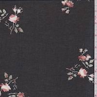 Black Floral Branch Chiffon