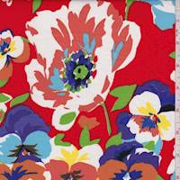 *3 1/4 YD PC--Red Multi Pansy Floral Poplin