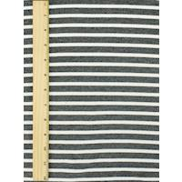 *2 5/8 YD PC--Charcoal Heather Gray/White Stripe Baby French Terry Knit