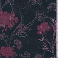 *1 3/4 YD PC--Black/Maroon Modern Floral Jersey Knit
