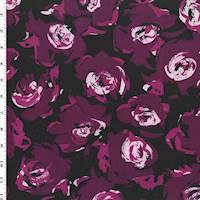 *2 1/4 YD PC--Maroon Purple/Multi Rose Print Tricot Swimwear