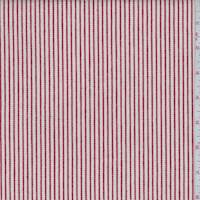 *3 1/8 YD PC--Natural/Red Ticking Stripe Cotton Twill