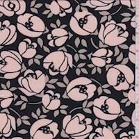 *4 1/8 YD PC--Black/Blush Modern Floral ITY Jersey Knit