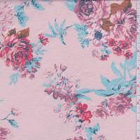 *3 1/4 YD PC--Soft Pink Floral French Terry Knit