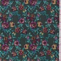 *3 3/8 YD PC--Hunter Green Multi Floral Rayon Crepon
