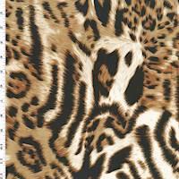 *3 1/4 YD PC--Brown/Black/White Leopard Print Knit Jersey