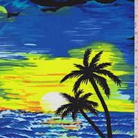 Ocean Blue Hawaiian Print Denim