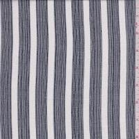 Navy/White Stripe Rayon Gauze