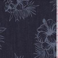 Navy Hibiscus Print Stretch Denim