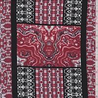 Brick Red Moroccan Tile Rayon Challis