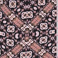 Black/Blush Medallion Lattice Rayon Challis