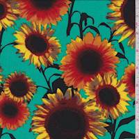 *3 YD PC--Aqua Green Sunflower Challis