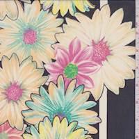 Navy/Apricot Floral Print Chiffon