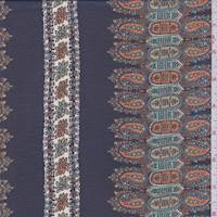 Deep Navy/Orange Paisley Stripe Chiffon