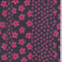 Black/Cherry Floral Stripe Chiffon