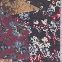 Black/Berry Multi Floral Patchwork Georgette