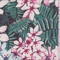 Black/Pink Floral Fern Georgette