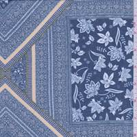 Marine Blue Medallion Tile Georgette