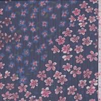 Navy Floral Patchwork Georgette