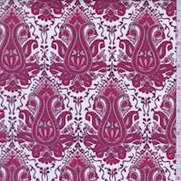 White/Berry Baroque Print Stretch Denim