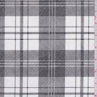 Ivory/Slate Plaid Brushed Stretch Sateen