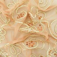 Deep Beige/Gold/White Swirl Applique Sequin Scallop Mesh