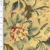 *1 YD PC--Designer Cotton Beige/Multi Floral Print Decorating Fabric