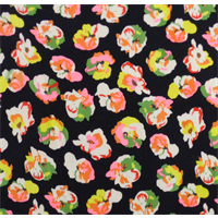 *5 YD PC--Black/Multi Abstract Floral Print Georgette