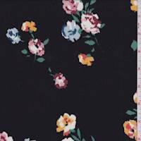 *1 7/8 YD PC--Black Multi Mottled Floral Rayon Challis