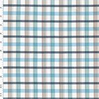 *2 1/4 YD PC--Sky Blue/Taupe/Multi Plaid Shirting