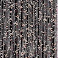 *3 3/4 YD PC--Black/Canvas Pinstripe Floral ITY Jersey Knit