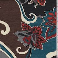 *4 5/8 YD PC--Teal Blue/Brown Stylized Floral Jersey Knit