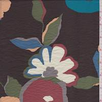 *3 1/2 YD PC--Espresso Brown Modern Floral Lawn