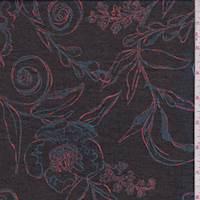 *1 1/2 YD PC--Black/Red/Blue Scroll Floral Chiffon